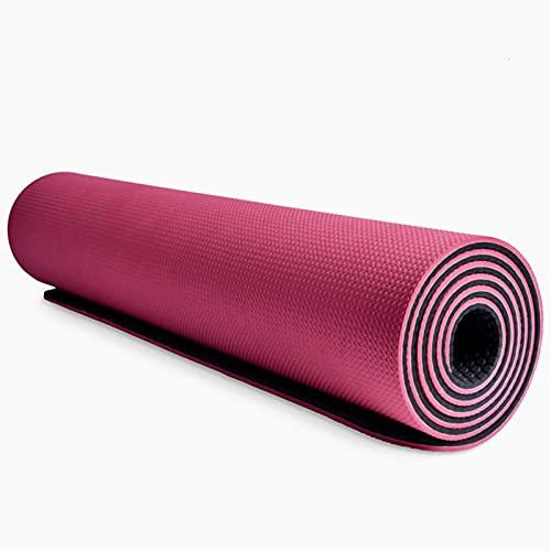 N\C Estera de Yoga de Goma de Nitrilo Natural Antideslizante de Alta Densidad Ultra Gruesa de 10 mm, Estera de Ejercicio, Resistencia al Desgarro, Buen Agarre, Equipada con Cuerda de Yoga