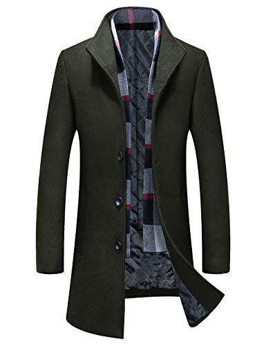 Men's Business Wool Top Coat Quality Winter Trench Coat Long Jacket 1702 Black L