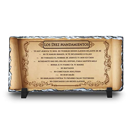 InspiraGifts Los Diez Mandamientos Religious Inspirational Decor Hand Crafted Stone Plaque | Perfect Unique Christian Gift in Spanish (5.5x11.7)