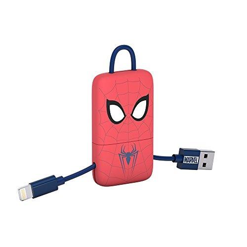 Tribe CMR31605 Marvel Spiderman Mini Porte-Clés Câble USB Connecteur Micro-USB, 22 cm, Rouge/Bleu