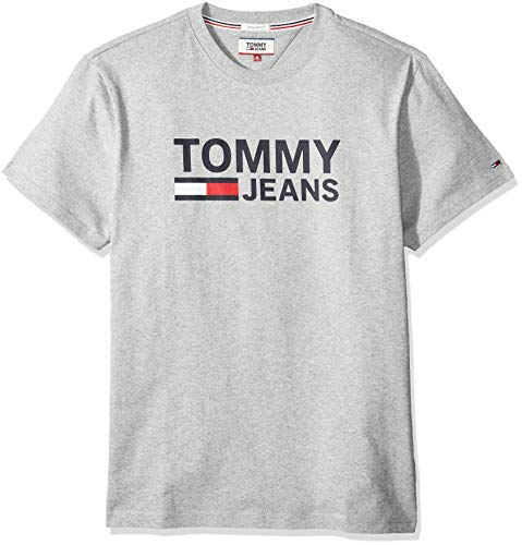 Tommy Jeans Herren TJM TOMMY CLASSICS LOGO TEE Freizeithemd, Grau (Lt Grey Htr 038), Small (Herstellergröße:S)