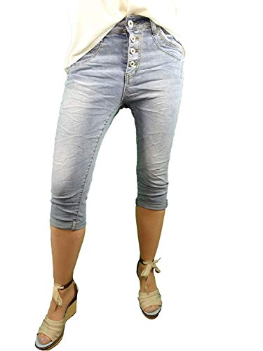 Jewelly Bermuda Shorts Capri Krempelhose Stretch Denim Jeans offene Knopfleiste Denim S-36