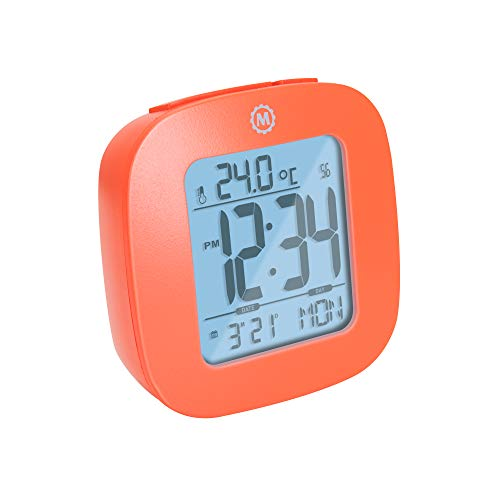 Marathon Small Compact Alarm Clock with Repeating Snooze, Light, Date and Temperature. Batteries Included. Marathon Travel Collection - Special Edition - CL030058OR (Red Orange)