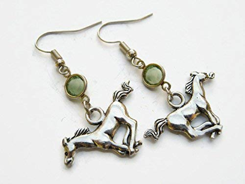 Galloping Horse Birthstone Earrings, Personalized Mustang Earrings, Animal Earrings, Farm Country Earrings