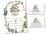 25 Wreath Woodlands Greenery Baby Shower Invitations (Large Size 5X7 inches), Diaper Raffle Tickets, Baby Shower Book Request Cards with Envelopes Woodland Creature Invites Neutral Baby Showers Fox
