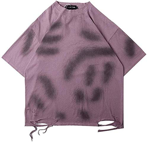 Wnkls Harajuku Loch-Bindung Farbstoff Street-T-Shirts Männer und Frauen Kurze Hülsen-lose beiläufiges Sommer-T-Shirt Aufmaß O Ansatz Hip Hop (Color : Brown, Size : XL)