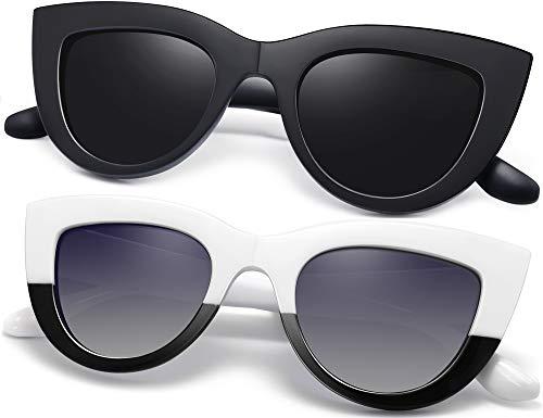 Joopin Gafas de Sol Mujer Ojos de Gato Retro UV400 Gafas Polarizadas de Moda Cateye Estilo Vintage (Negro+Blanco)