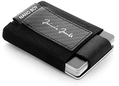 JAIMIE JACOBS Nano Boy Mini Wallet, Mini Geldbörse aus Textil, Kleiner Geldbeutel, Slim Wallet mit Zugband Kartenhalter, Mini-Portmonee, Kartenetui für Herren und Damen (Carbon)