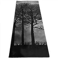 暗い森 印刷 ヨガマット5mmプリント厚手の滑り止めエクササイズ&フィットネスマット、あらゆるタイプのヨガ、ピラティス、フロアワークアウト(180cmx 61cmx0.5cm)