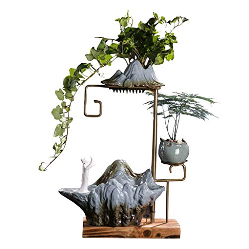 Xinxinchaoshi Desktop Fountain Ceramic Rock Water Ornaments Rain Curtain Water Decorative Fountain and Metal Frame Living Room Office Bedroom Humidifier Elegant Home Decoration Gifts