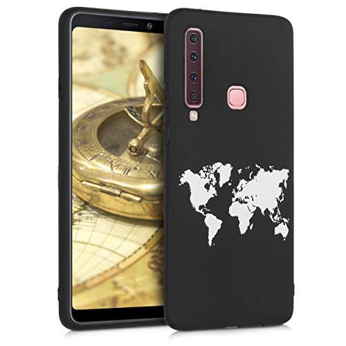 kwmobile Samsung Galaxy A9 (2018) Hülle - Handyhülle für Samsung Galaxy A9 (2018) - Handy Case in Travel Umriss Design Weiß Schwarz