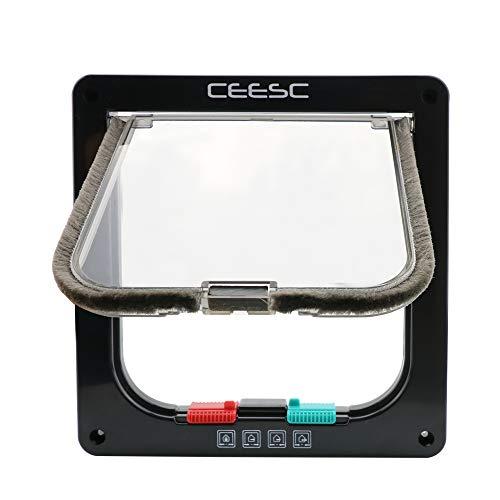CEESC Puerta magnética para Mascotas con Puerta abatible y Cerradura de 4 vías para Gatos, Gatitos y Perro Perrito (S, Negro)
