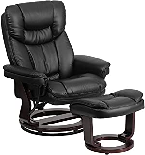 Flash Furniture Contemporary Multi-Position Recliner and Curved Ottoman with Swivel Mahogany Wood Base in Black Leather