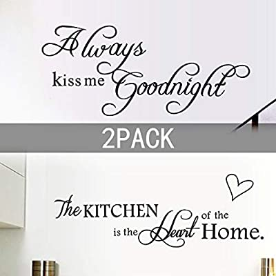 2 Pack Wall Stickers Quotes Wall Decal Removable for Kitchen and Bedroom Room,Always Kiss Me Goodnight,The Kitchen is The Heart of The Home