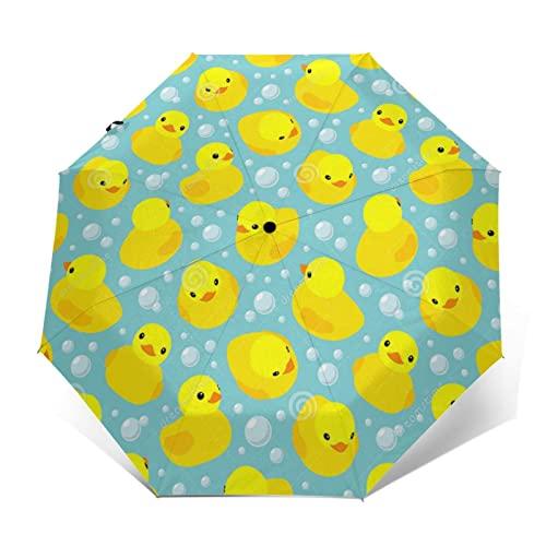 黄色のゴム製のダック 自動開閉式折りたたみ傘 ワンタッチ 折りたたみ傘 耐強風撥水 大きいサイズ 雨傘 日傘 持ち運びが簡単 おしゃれ 個性 晴雨兼用