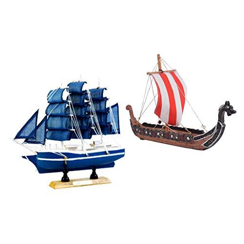 CUTICATE 2 Piezas De Madera Vikingo Dragón Barco Y Velero Modelo Resina Regalo para Niños