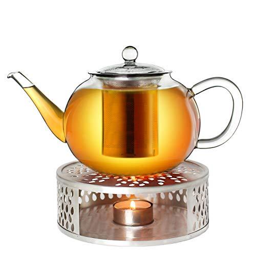 Creano Teekanne aus Glas 0,8l + EIN Stövchen aus Edelstahl, 3-teilige Glasteekanne mit integriertem Edelstahl Sieb und Glasdeckel, ideal zur Zubereitung von losen Tees, tropffrei