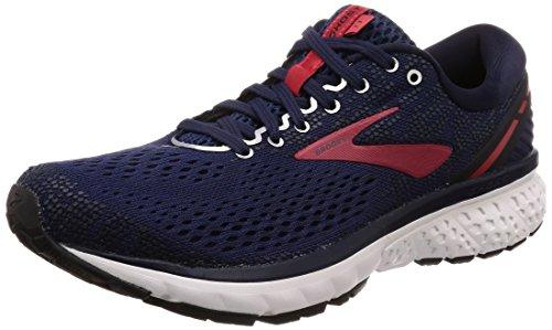 Brooks Mens Ghost 11 Running Shoe - Navy/Red/White - D - 9.5