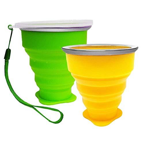 Camping Klappbecher 200ML Faltbare Becher Tragbare Silikon Tasse aus Edelstahl für Reise Picknick Outdoor Wandern (2 Stück-Grün + Gelb)