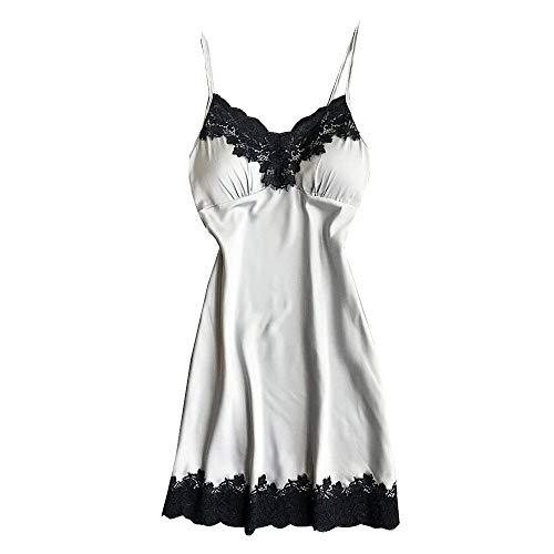 Sexy Satijnen Nachtkleding Dames Slaap & Lounge Zijden Gewaden Nachthemden Dames Kanten Band Nachthemd Pyjama Badjas Homewere Wit
