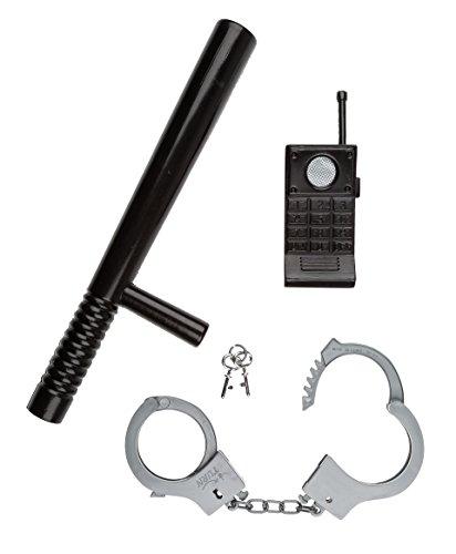 Idena 8040006 - Set di accessori da poliziotto, 3 pz (manganello, manette e walkie-talkie)