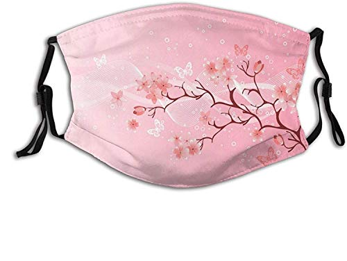 Cherry Blossom Print-Mask, Reusable Bandana with 2 Filter Flower Face Mask for Adult Unisex-Pink Japanese Cherry Blossom Butterfly-1 PCS