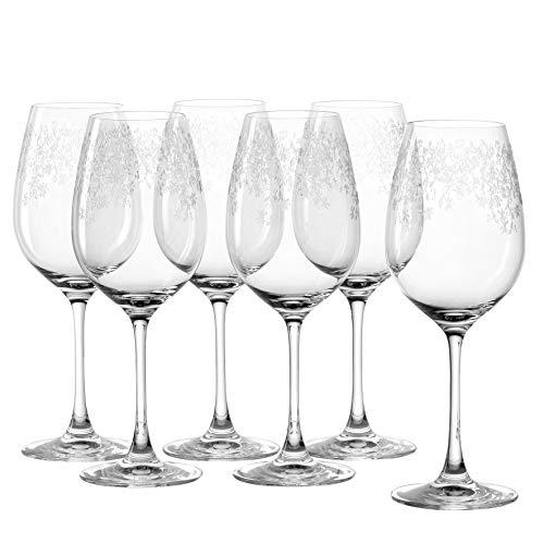 Leonardo Chateau Rotwein-Gläser, 6er Set, spülmaschinenfeste Wein-Gläser, Rotwein-Kelch mit gezogenem Stiel, Wein-Glas mit Gravur, 510 ml, 035300