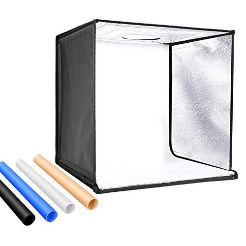 Neewer Fotostudio Licht Box 24 Zoll / 60 cm Aufnahme Licht Zelt einstellbare Helligkeit Faltbare tragbare professionelle Tisch Fotozelt 156 LED-Leuchten 4 Farb Hintergründen