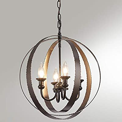 4 Light Industrial Chandelier Light Fixture, Orb Chandelier with Oil Rubbed Bronze Finish, Rustic Pendant Lighting for Kitchen Island, Hallway, Dinging Room and Foyer