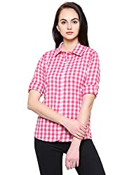 Fashion Village Pink Checkered Shirt for Womens/Girls