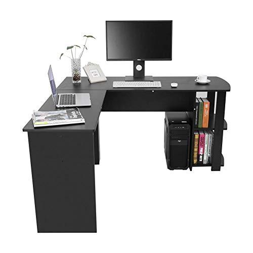 EBTOOLS Escritorio de la Esquina de la Computadora Ordenador de Madera Mesa Esquinera en Forma de L Oficina Casa 136 * 130 * 72 cm (Negro)