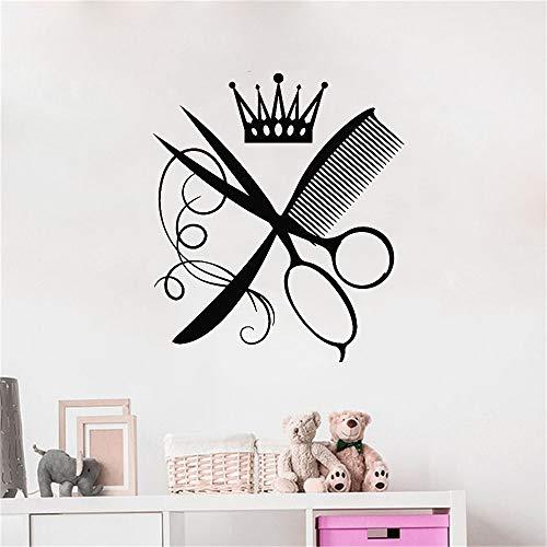 yaofale Haarschnitt Wandtattoo Kamm Schere Krone Friseur Schönheitssalon Innendekoration Vinyl Fenster Aufkleber Frisur Design Wandbild