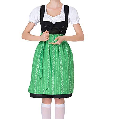 Heiß Neu Damen Oktoberfest KostüM Bayerisch Bier MäDchen Dirndl Maid Kleid Stilvoll Frau Lange Beer Festival Cosplay Bluse Outfits Frauen Trachtenkleid Dirndl Bluse Schürze (Grün, L)