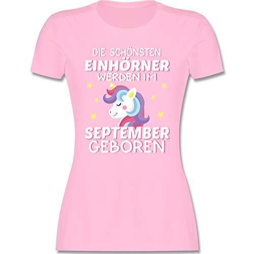 Geburtstag - Die schönsten Einhörner Werden im September geboren Sterne bunt - XL - Rosa - Shirt Sterne - L191 - Tailliertes Tshirt für Damen und Frauen T-Shirt