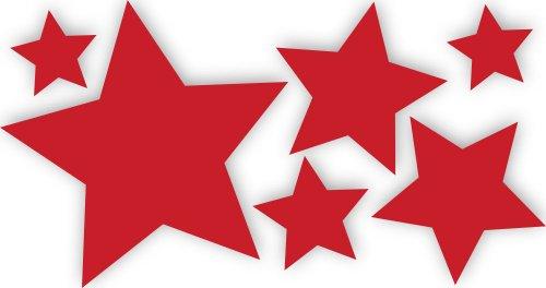 10 Stück rote, selbstklebende Sterne Autoaufkleber Fensterdekoration Fensterbild/Fensteraufkleber, Wandtattoo Deko Sticker, Weihnachtsdekoration, Schaufenster In- und Outdoor 62s1