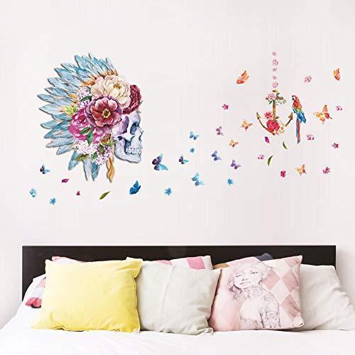 Muursticker Wilde schedel muursticker veer voor woonkamer sofa TV muursticker wooncultuur muurtattoos voor kinderkamer kunstwand