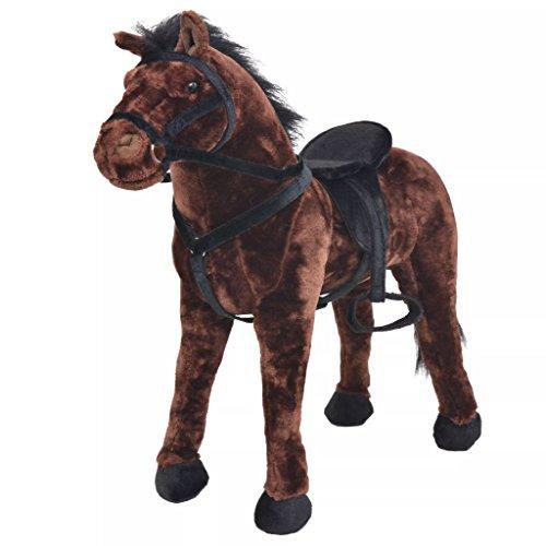 Galapara Stehpferd Plüschpferd XXL 71 x 62 cm Pferd mit Sound, Standpferd Spielzeug Pferd bis 100kg belastbar - Kinderpferd mit Kleiner Bürste Einhorn Dunkelbraun