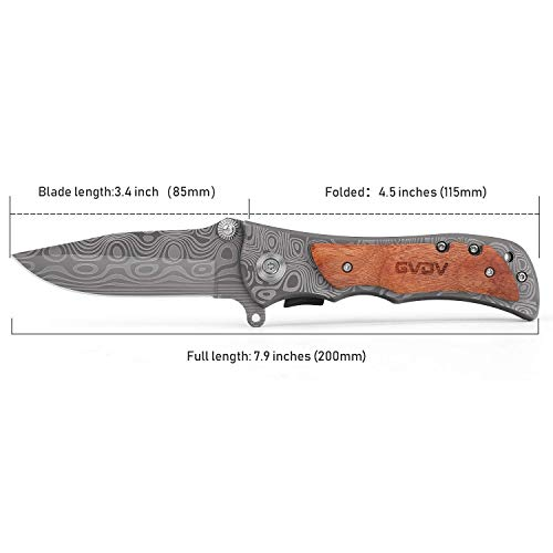 GVDV Pocket Folding Knife with Sharpener 7Cr17 Stainless Steel Tactical Knife for Camping Hunting Fishing, with Titanium Coated Blade, Belt Clip, Safety Liner-Lock, Wooden Handle