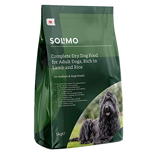 Amazon Brand - Solimo - Complete Dry Dog Food for Adult Dogs, Rich in Lamb and Rice, 2 Packs of 5kg