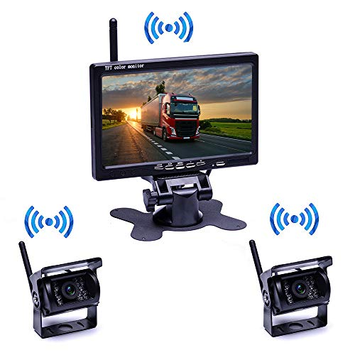 HD Backup Camera System Kit, 4.3'' 1080P Rear View Camera Kit +IP68 Waterproof Rear View Camera Night Vision Guide Lines Constantly View License Plate Reverse Camera for Trucks/Cars/Minivans/SUV/Bus backup Cameras Vehicle