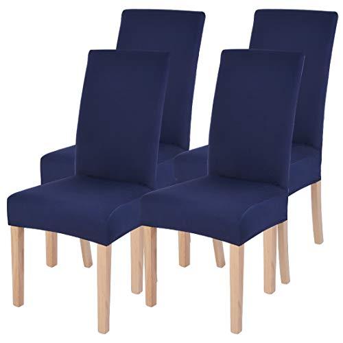Fundas de silla de comedor elásticas modernas extraíbles lavables Spandex para sillas altas 1/2/4/6 piezas fundas protectoras para silla Pack de 4 azul marino