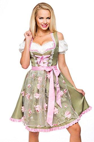 Dirndline Dirndl mit Blumenschürze Frauen Mittellanges Kleid grün/pink XXL