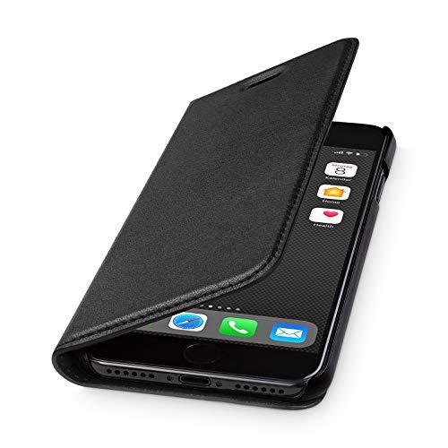 WIIUKA Lederhülle - TRAVEL 2.0 - Hülle für iPhone SE (2020) / iPhone 8/7, extra Dünn, Kartenfach, Tasche Schwarz, Premium Leder