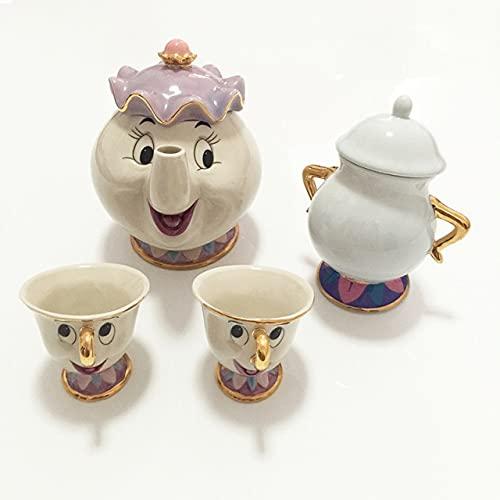 RichAmazon Taza de té de la belleza y la bestia de la historieta de la belleza y la bestia de la señora Potts Chip Tea Pot Cup Set de porcelana regalo 1 olla 2 tazas 1 azúcar