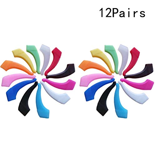 SUPVOX Gafas de silicona Ganchos para la oreja Gafas de seguridad antideslizantes Agarre el sujetador para niños adultos Deportes 12 pares (color aleatorio)