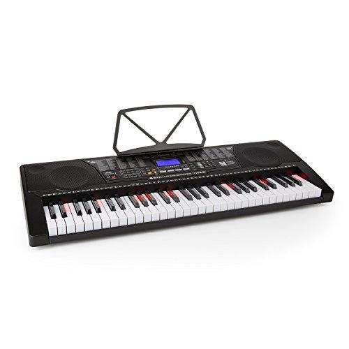 Schubert Etude 225 USB - teclado, teclado de aprendizaje, 61 teclas, teclas de luz, función de grabación y reproducción, 3 modos de aprendizaje, USB, negro
