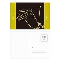仏教の宗教のブラック・イエロー・ハンド 友人のポストカードセットサンクスカード郵送側20個