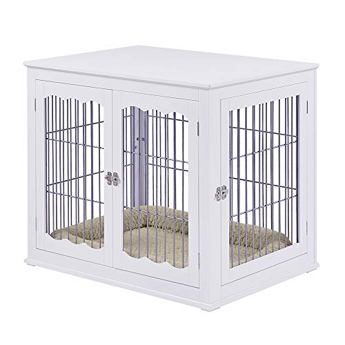 unipaws Pet Crate End Table with Cushion, Wooden Wire Dog Kennels with Double Doors, Modern Design...