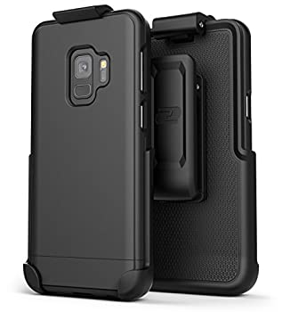 Encased Galaxy S9 Belt Case  Slimshield Series  Ultra Thin Protective Grip Cover with Slim Holster Clip for Samsung S9  2018 Release  Smooth Black