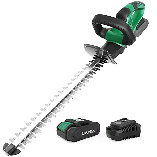 """KIMO 20V Cordless Hedge Trimmer, 20"""" Dual Blade, 3/5"""" Cutting Capacity, 5lbs Lightweight Electric Hedge Trimmer w/2.0Ah Battery, 1400 RPM, Battery Hedge Trimmer Tree Trimmer for Shrubs/Bushes Trimming"""
